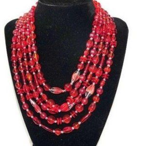 Vintage Necklace 5 Strand Red Glass Bead